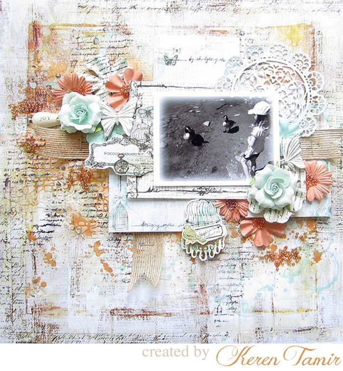 Step-by-Step Mixed Media Scrapbook Background Tutorial ~ Added lots of textural background using Finnabair's Light Paste, a 6x6 stone stencil, an Epiphany stamp, and Color Bloom sprays. Layered a few Epiphany note cards behind photo for extra interest.