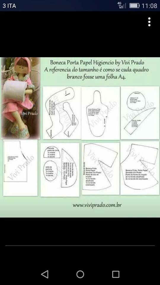Cartamodello Bambola Porta Carta Igienica Cucito Cucito