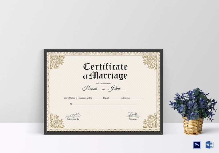 Keepsake marriage certificate template 12 formats included ms keepsake marriage certificate design template in psd word yelopaper Images