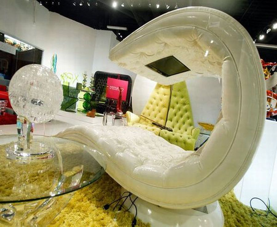 Ultra Modern Chaice Lounge Design for Home Interior Furnishings, Shiane Tv Chaise by HStudio Swivel Base System