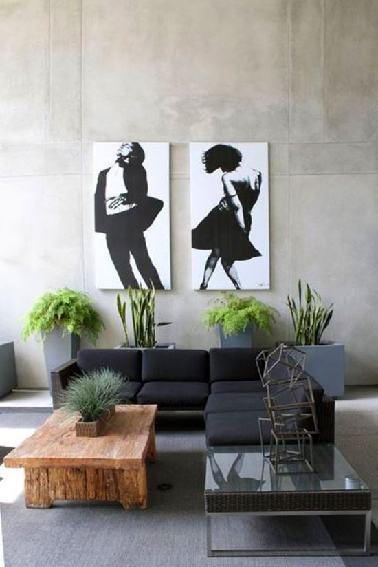 Black and white art in the living room #painting #wood #decor