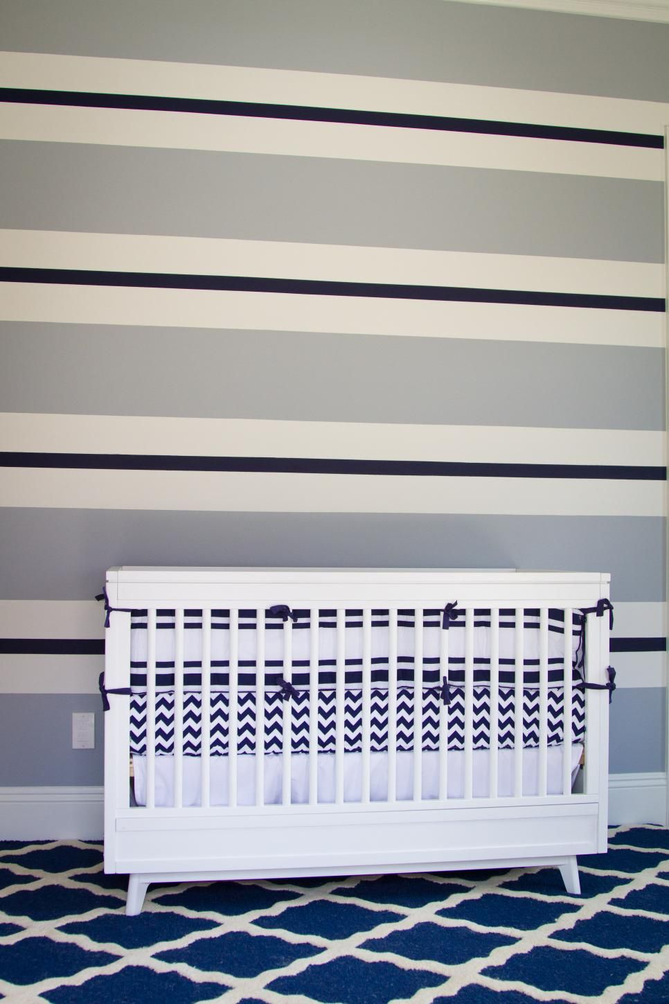 Painted Horizontal Stripes Adorn An Accent Wall In This