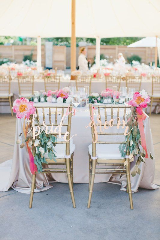 Gold calligraphy wedding chair signs bride + groom signs