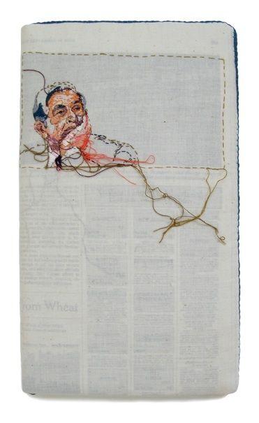 Lauren DiCioccio's sewnnews embroidered newspapers....