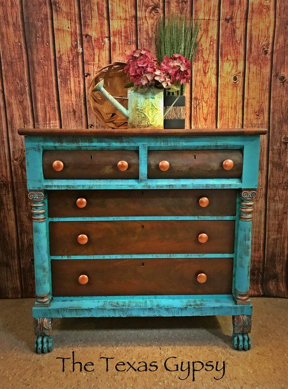 Turquoise Rustic Boho Antique Empire Clawfoot Dresser Buffet Gypsy Style  Furniture Painted Bedroom Furniture, Diy - Turquoise Rustic Boho Antique Empire Clawfoot Dresser Buffet Gypsy