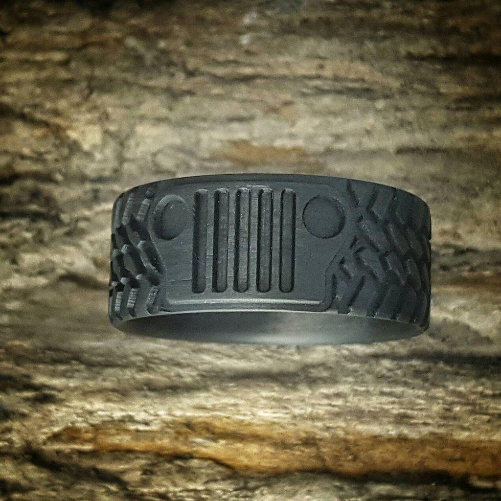 Off Road Jeep Tread Carbon Fiber Ring Wedding Band For Men