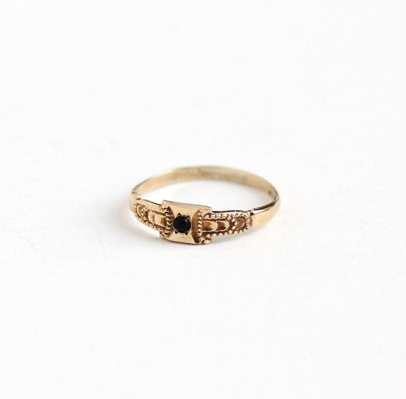 Vintage Simulated Sapphire 10K Rosy Yellow Gold Baby Ring