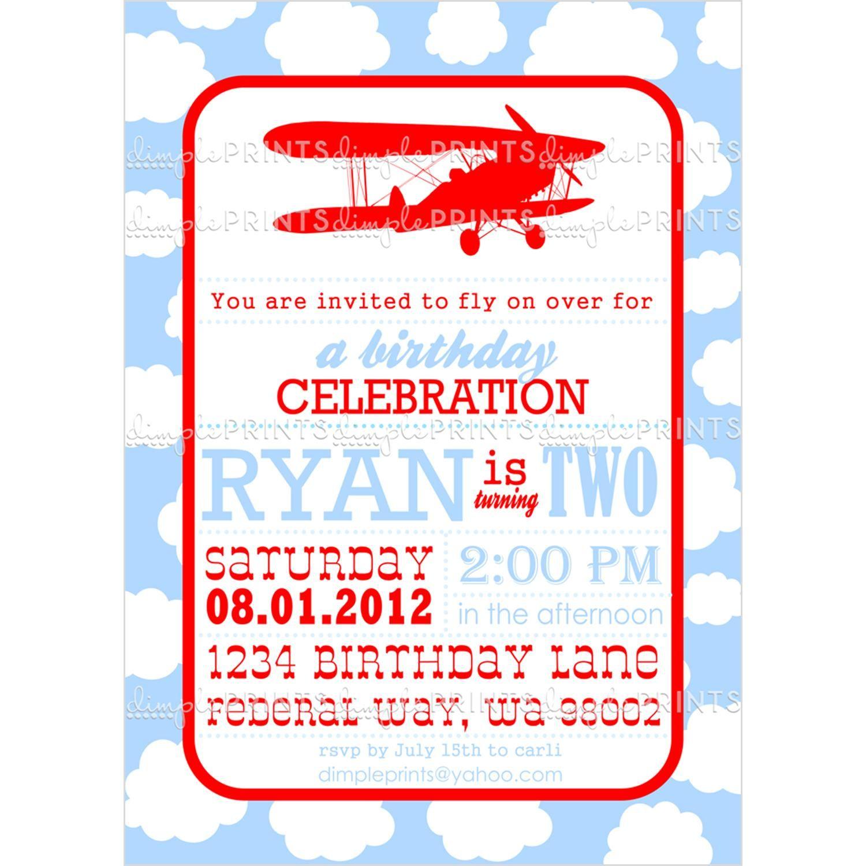 Vintage Biplane Printable Birthday Invitation | Party Ideas For Kids ...