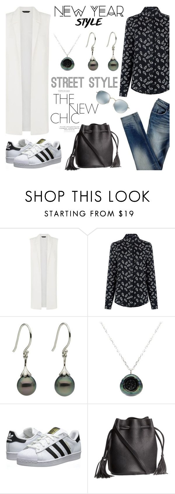 """""""Street style chic!"""" by littlehjewelry ❤ liked on Polyvore featuring Pink Tartan, Pearl & Black, adidas Originals, H&M, Ray-Ban, contestentry, pearljewelry, styleresolution and littlehjewelry"""