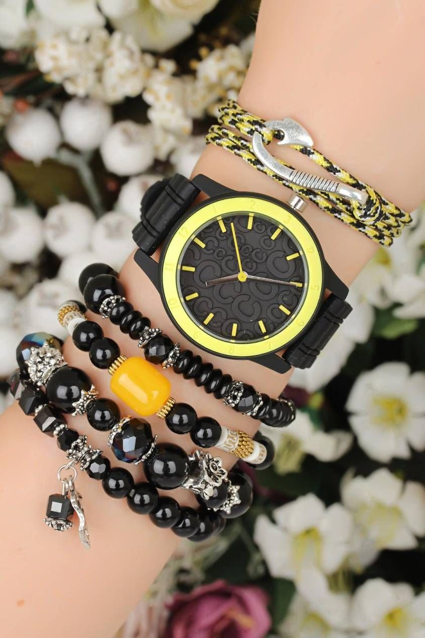 Silikon Kordonlu Bayan Saat Kombini Saat Kombine Madam Bracelet Watch Bracelet Set Ve Bracelets