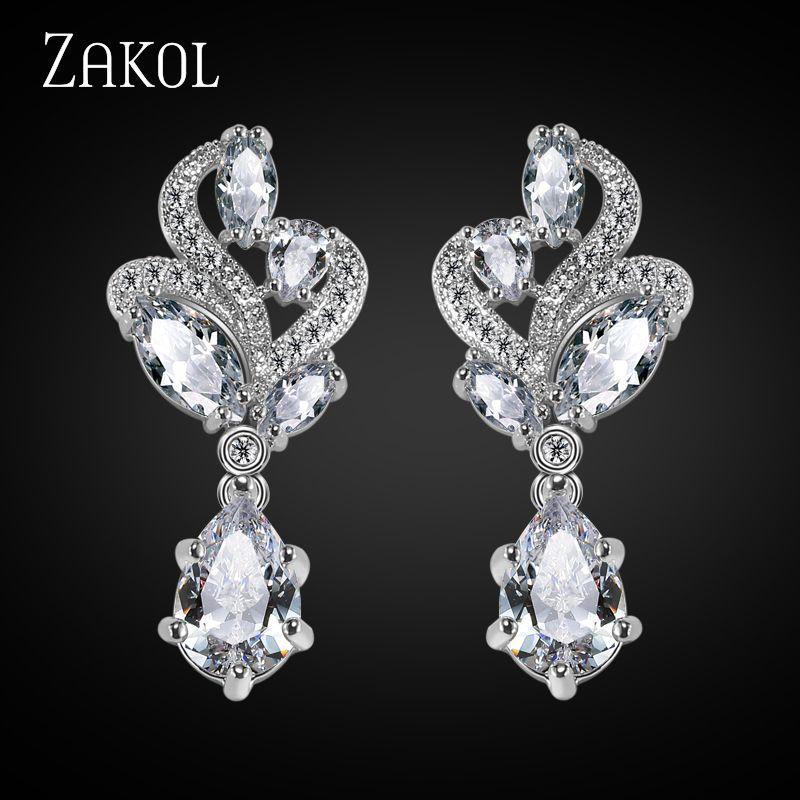 ZAKOL 우아한 패션 후작 클러스터 꽃 드롭 배 모양의 큐빅 지르코니아 크리스탈 매달려 귀걸이 웨딩 FSEP263