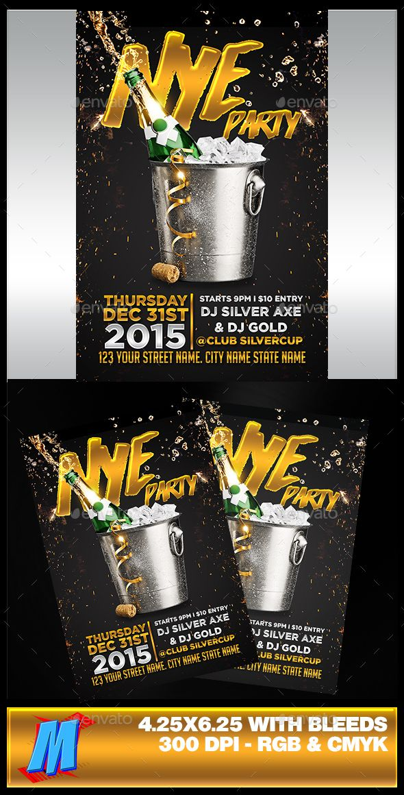 New Year Party Flyer Template  FontsLogosIcons