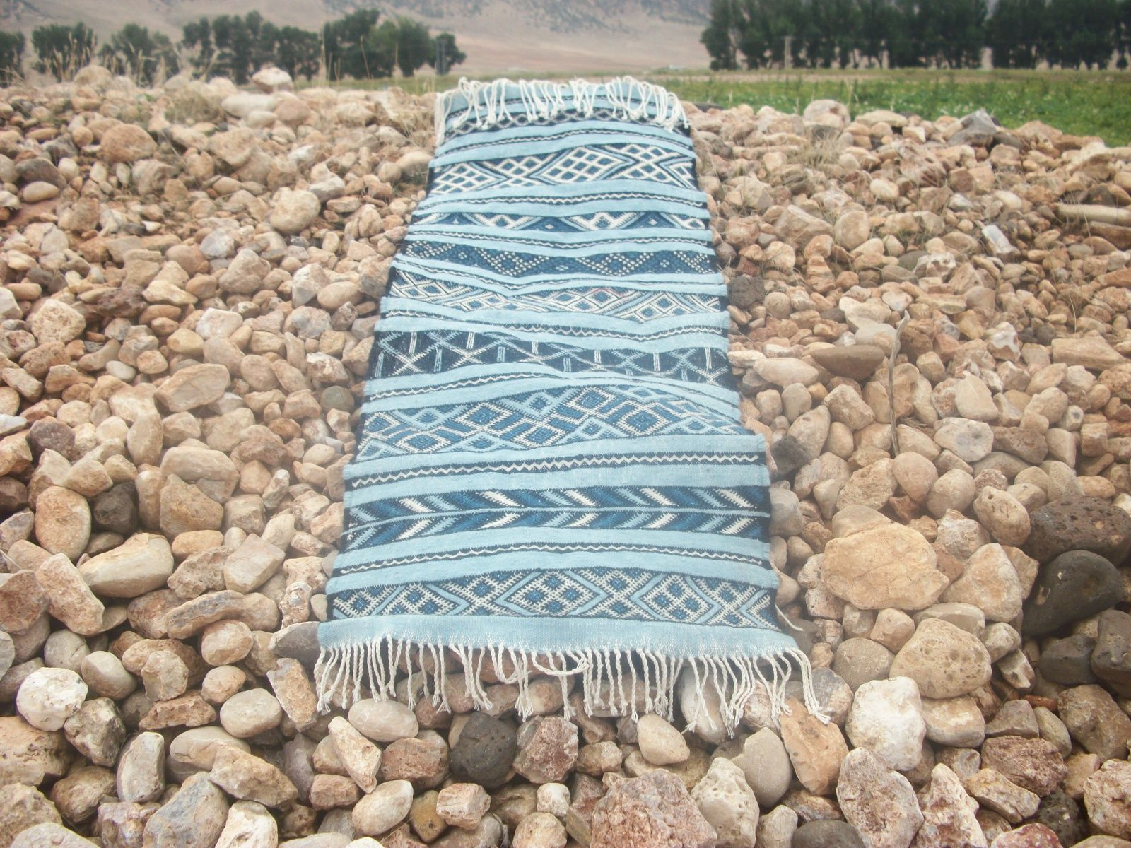 flatweave: Hanbel Uniquely handmade by artisans using Cotton Thread and Tadout - Wool. Crafted by Association Tithrite from Ait Hamza, Morocco. Qty: 1