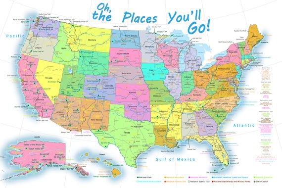 Oh the Places You\'ll Go Map   USA Map for Kids   Children\'s USA Map ...