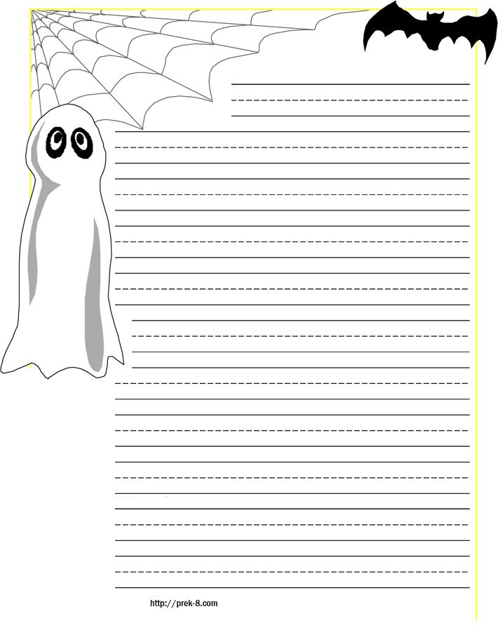 halloween spider on web primary lined kids writing paper,free - lined pages for writing