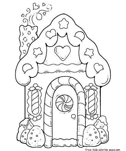Gingerbread House Printable Coloring Pages For Kids Paginas Para