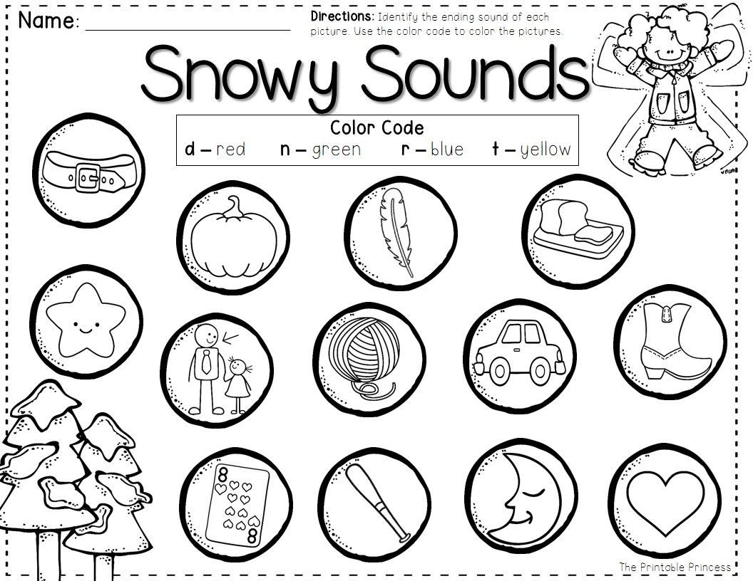 freebie color by code ending sound word work pinterest kindergarten winter and literacy. Black Bedroom Furniture Sets. Home Design Ideas