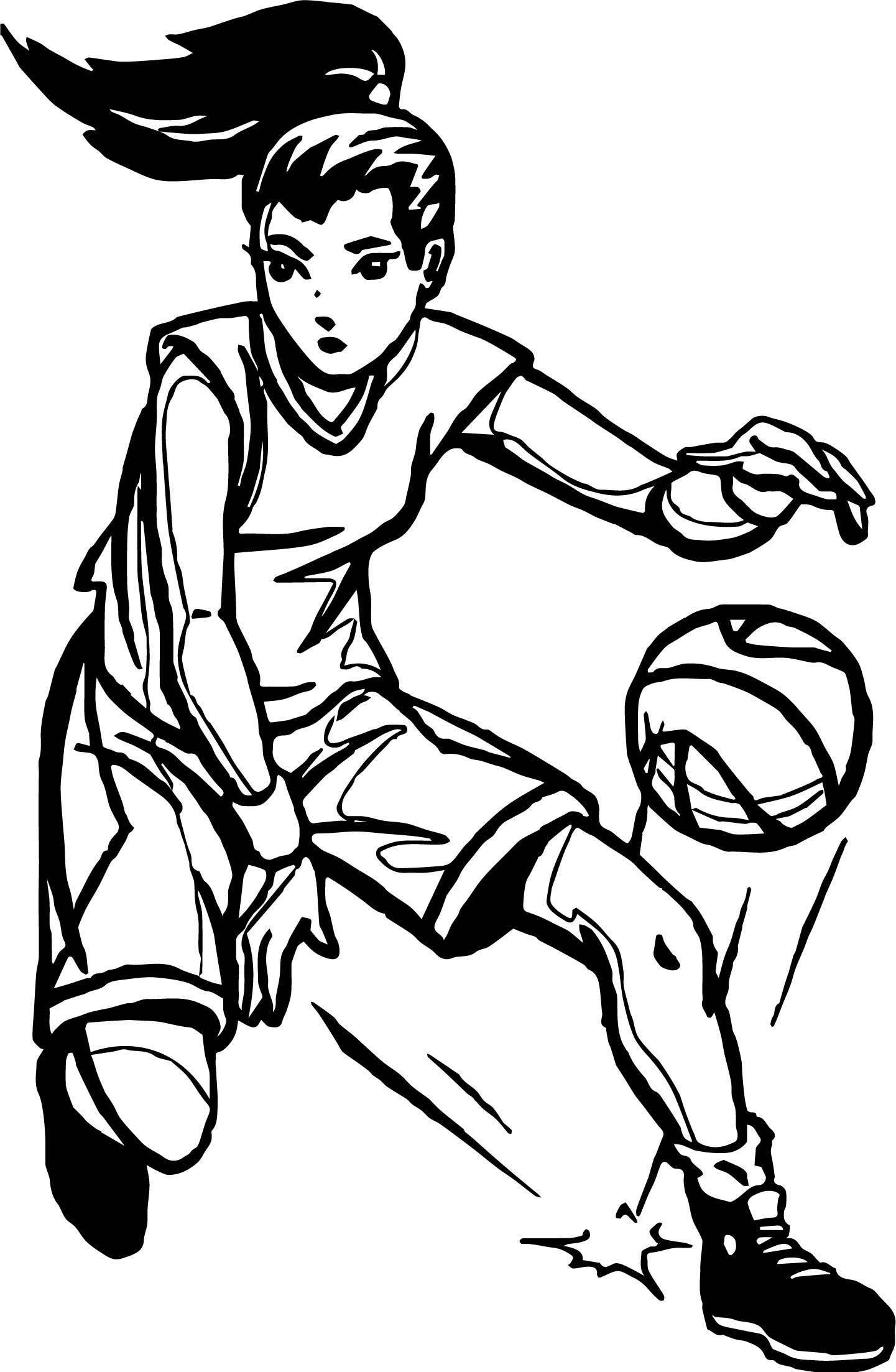 Awesome Girl Player Playing Basketball Coloring Page Coloring