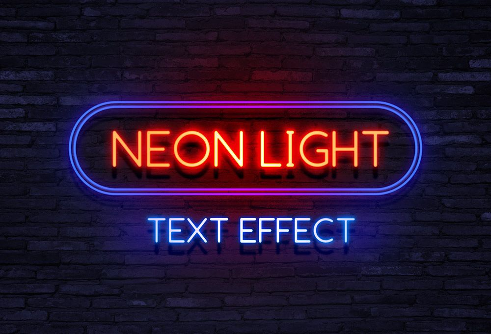Neon Light Text Effect Graphicsfuel Text Effects Photoshop Text Neon Lighting