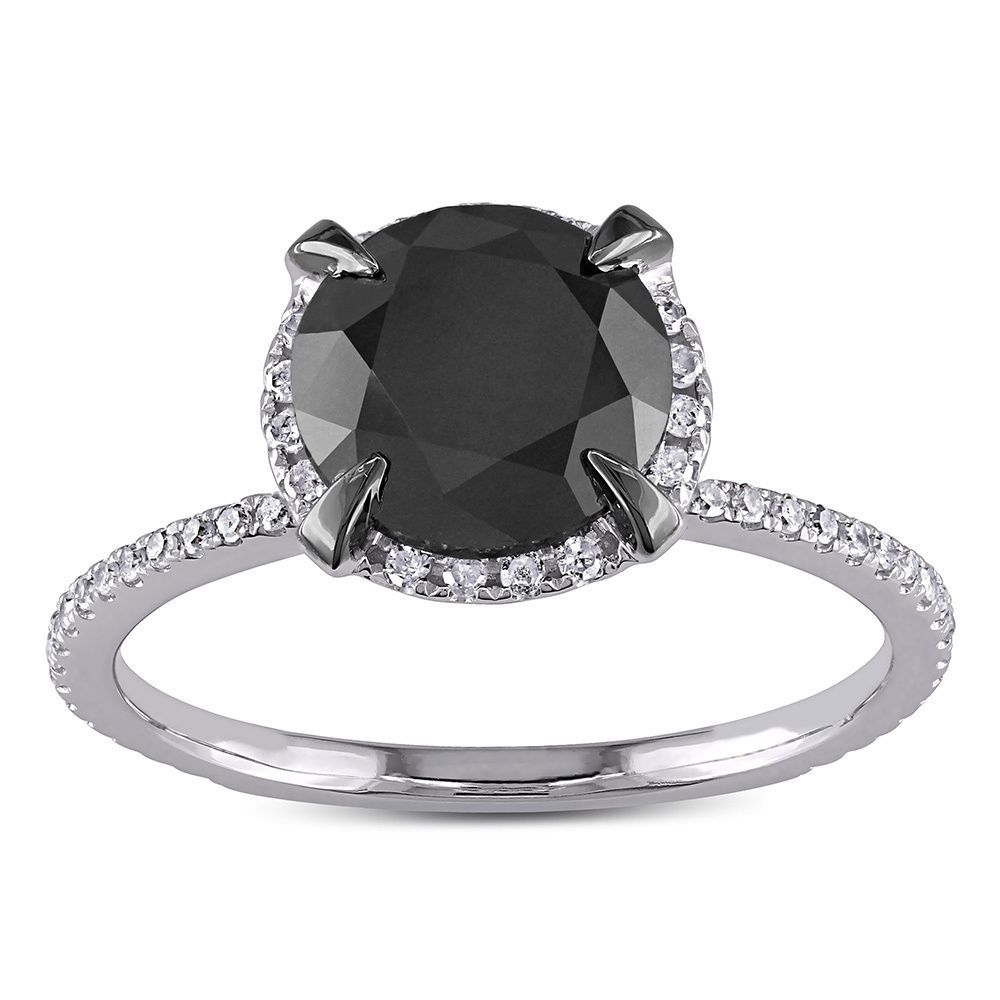 4ct Tdw Black And White Halo Diamond Solitaire Engagement  Ring (gh, I2i3) (size 12)