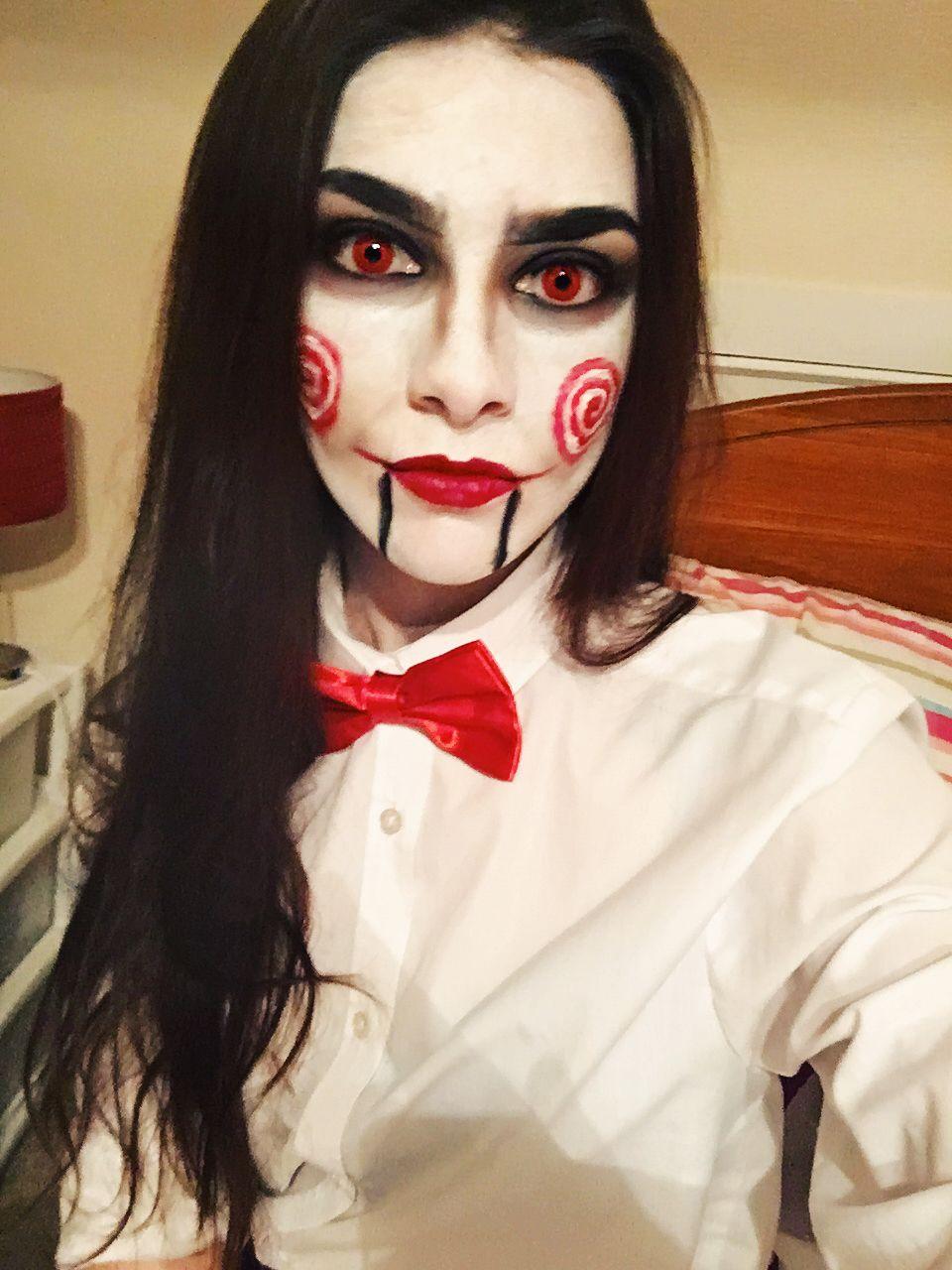 Jigsaw puppet halloween costume makeup jigsaw puppet