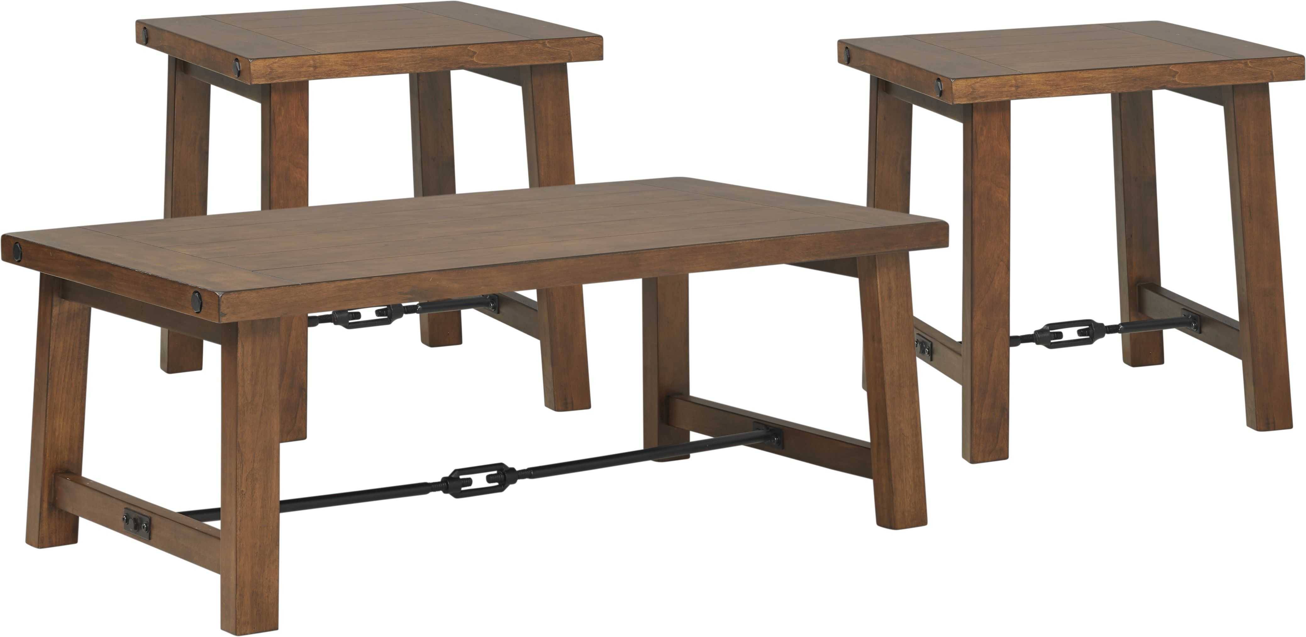 Best South River Brown 3 Pc Cocktail Table Set Living Room 400 x 300