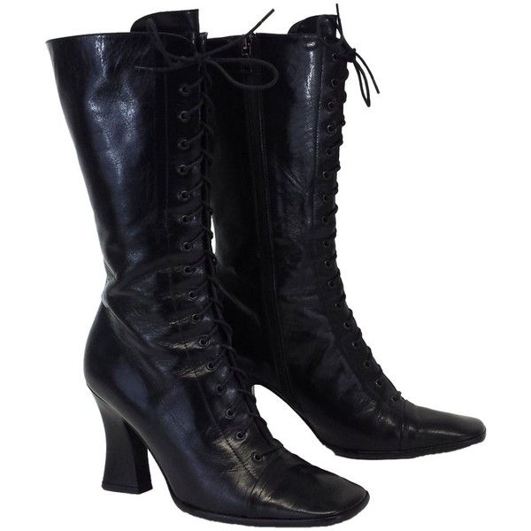 Pre-owned Prada Leather Lace Up Mid-calf Sz 9 Black Boots ($329) ❤ liked on Polyvore