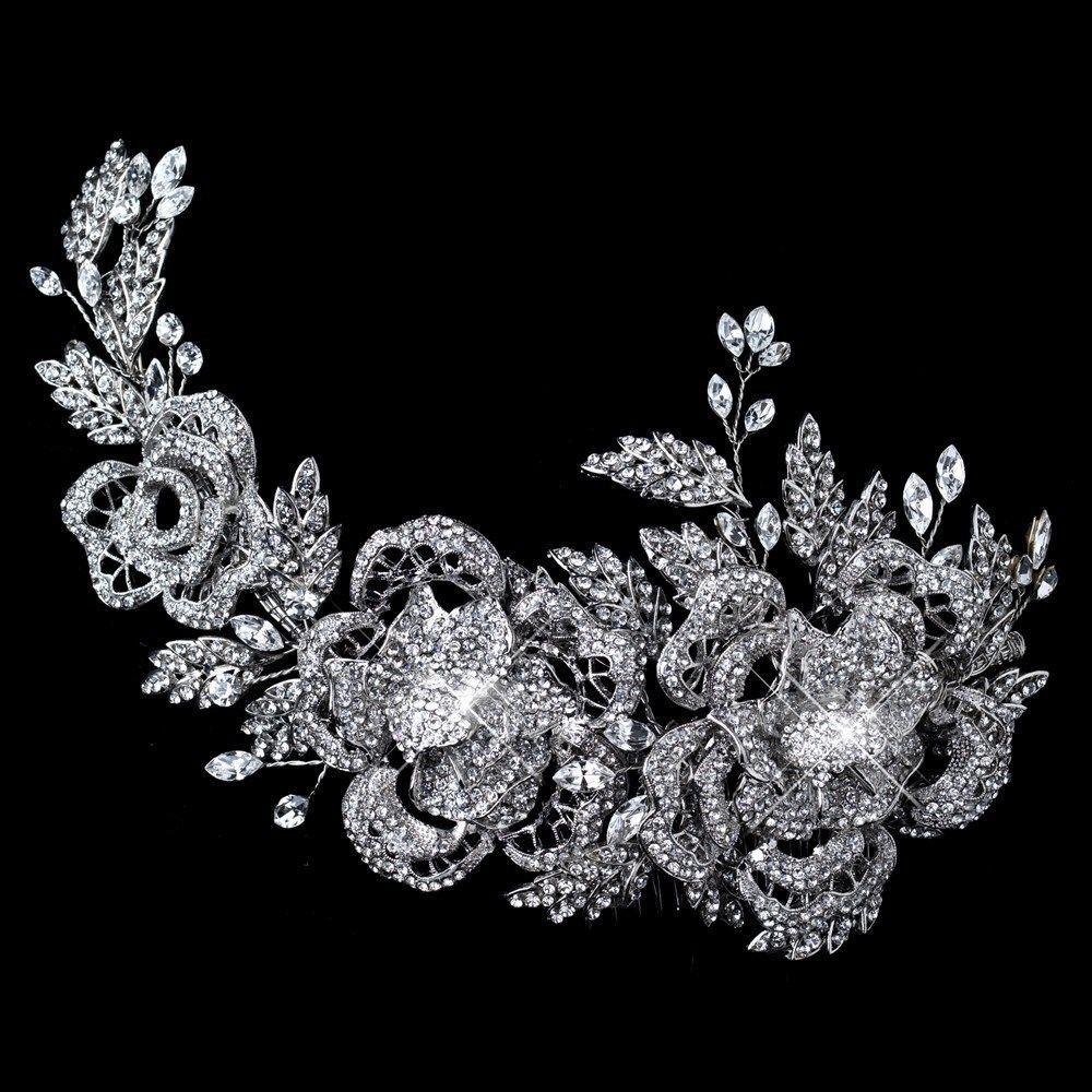 rhodium clear rhinestone floral rose side accented prom wedding