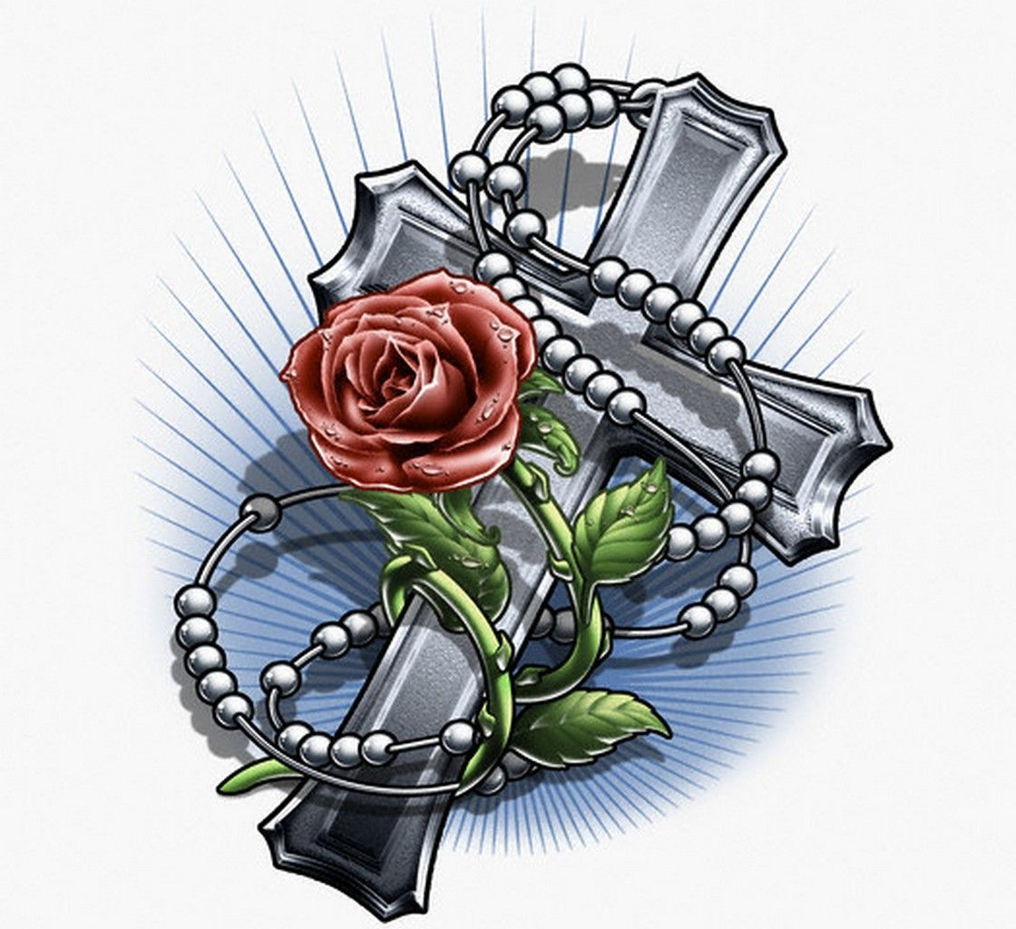 rose tattoo drawings cross and rose tattoo designs