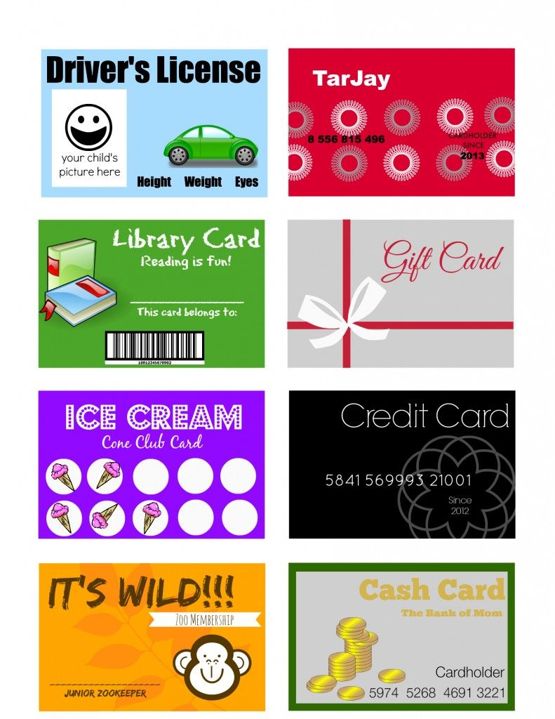 Printable And Customizable Play Credit Cards Kids Cards Kids Credit Card Free Gift Cards Online