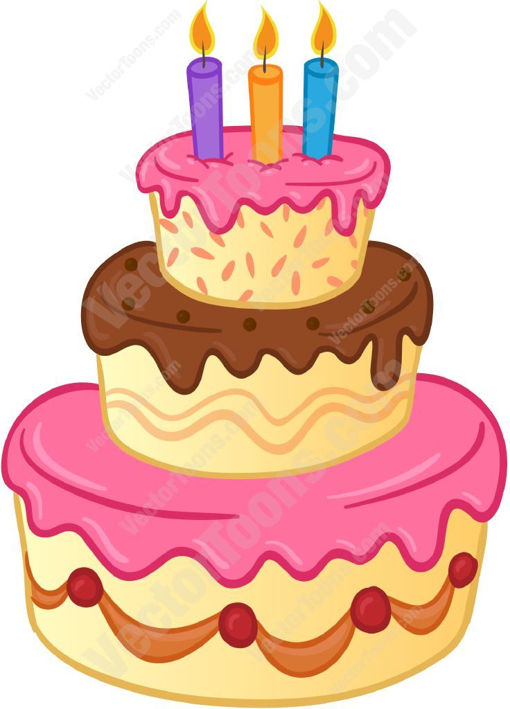 Three Tiered Birthday Cake With Lit Candles And Pink And Brown - Cartoon birthday cake images
