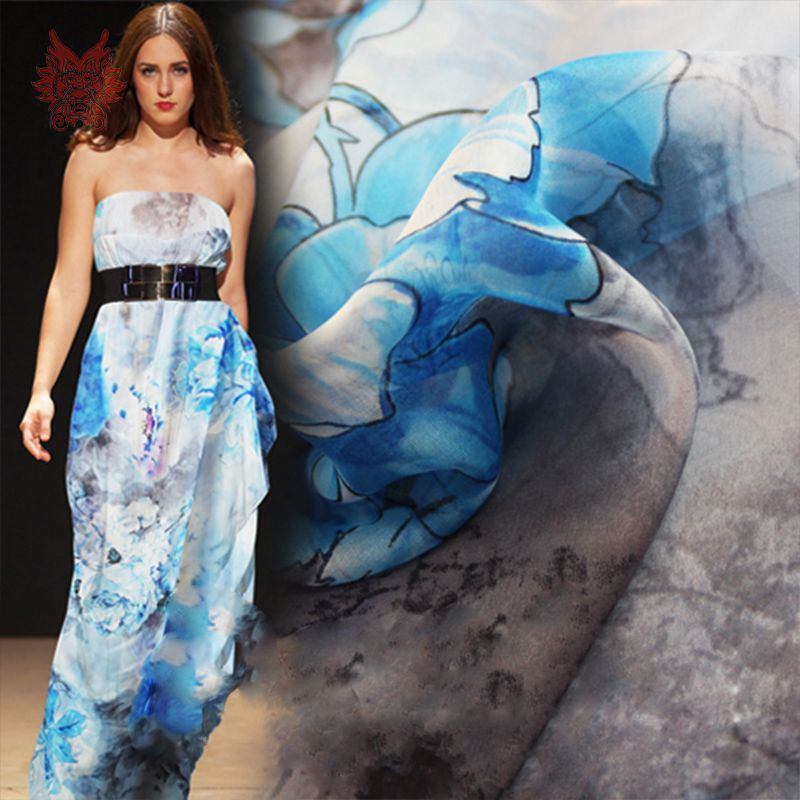 Cheap fabric card, Buy Quality fabric directly from China fabric metal Suppliers:            Type:Luxury flower inkjet print 100%silk chiffon fabric for dress          Color:Light blue          Ma
