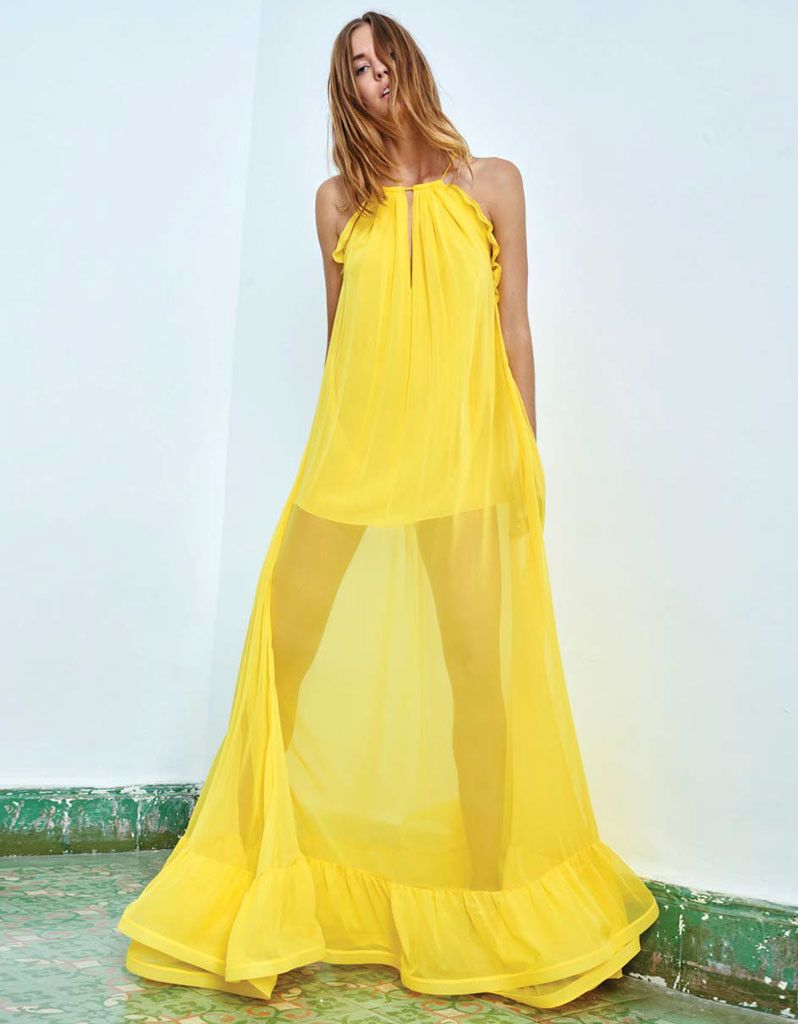 PRE-ORDER: Alexis Gracie Long Dress w/Ruffles in Yellow