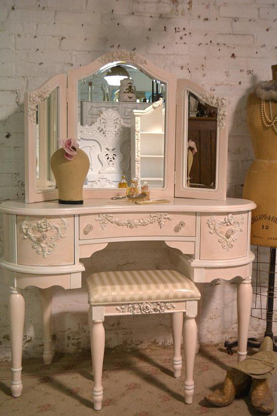 Painted Cottage Chic Shabby Romantic Vanity and Mirror and Stool VAN779 is part of Shabby chic furniture - policy ref shopinfo policies leftnav DELIVERY OPTIONS WE SHIP TO ALL STATES WITHIN THE US AND CANADA PICK UP is welcomed at our studio located at 719 HADDON AVE COLLINGSWOOD N J 08108  LOCAL DELIVERY within 90 miles of Philadelphia is available  Please call for pricing  WE DELIVER TO THE MANHATTAN AREA EVERY OTHER WEEK schedules permitting  DOOR TO DOOR shipping, convo us with your zip code and state for an accurate quote  We work with a large list of different carriers to find you the best shipping prices! Which can include shipping to the freight warehouse nearest to you for pick up for a better price  PERFECT FOR YOUR Shabby Cottage , Beach House, Farmhouse or Paris Apartment If you would like to speak to us in person please call us at  The Painted Cottage 8568540534 If you would like to visit We have hundreds of items available at our studio for you to see  We are open to the public seven days a week from 10am 5pm The Painted Cottage  719 Haddon Ave  Collingswood, N J  08108 8568540534