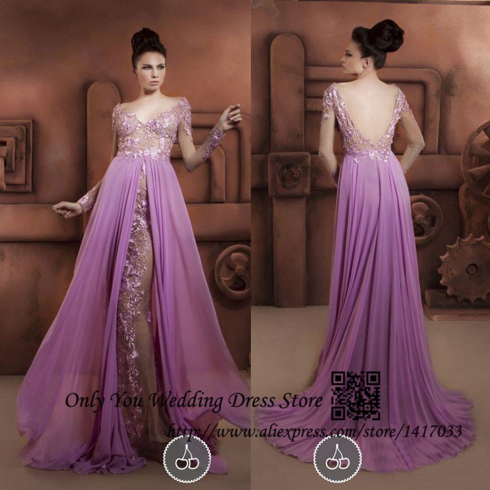 Aliexpress buy sexy purple long sleeve prom dresses