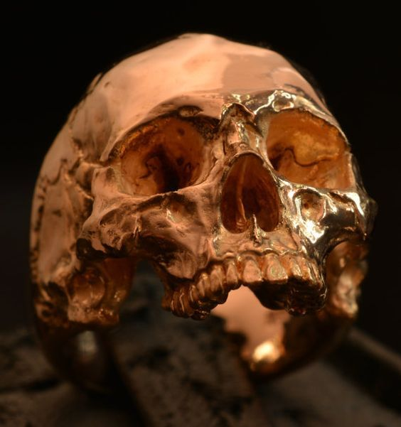 18 kt rose gold mens ring skull ring biker masonic by Bakogiorgis