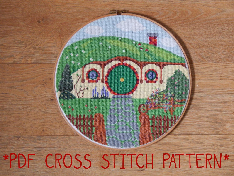 Hobbit Hole Bag End cross stitch sampler pattern by CapesAndCrafts