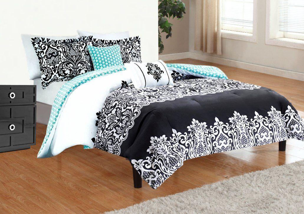e8c11eefb4 5pc Adorable Teen Girl Black Teal Damask Full Queen Comforter Set