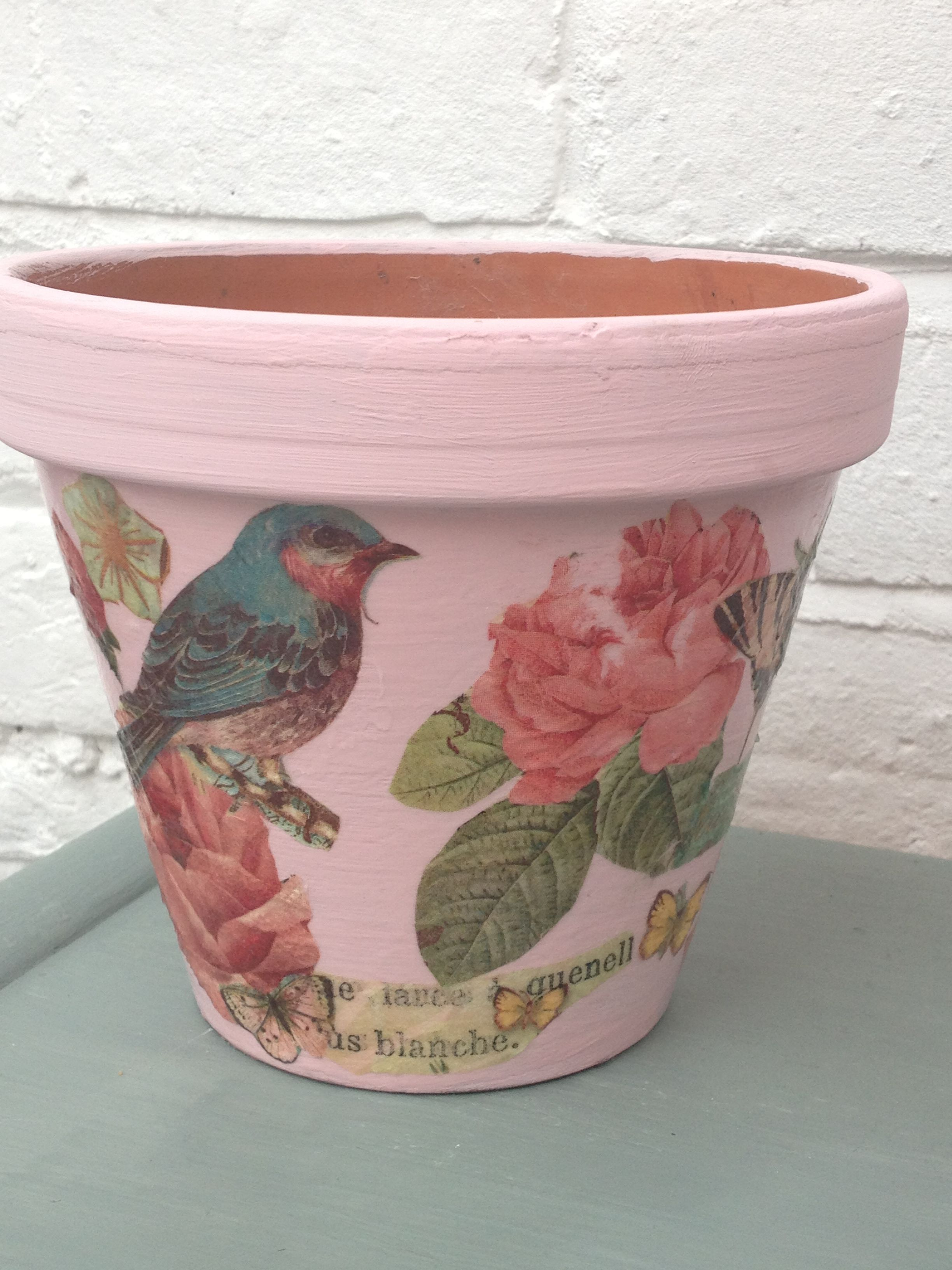6 Pretty Spring Flower Pot Decoupage Ideas Decorated