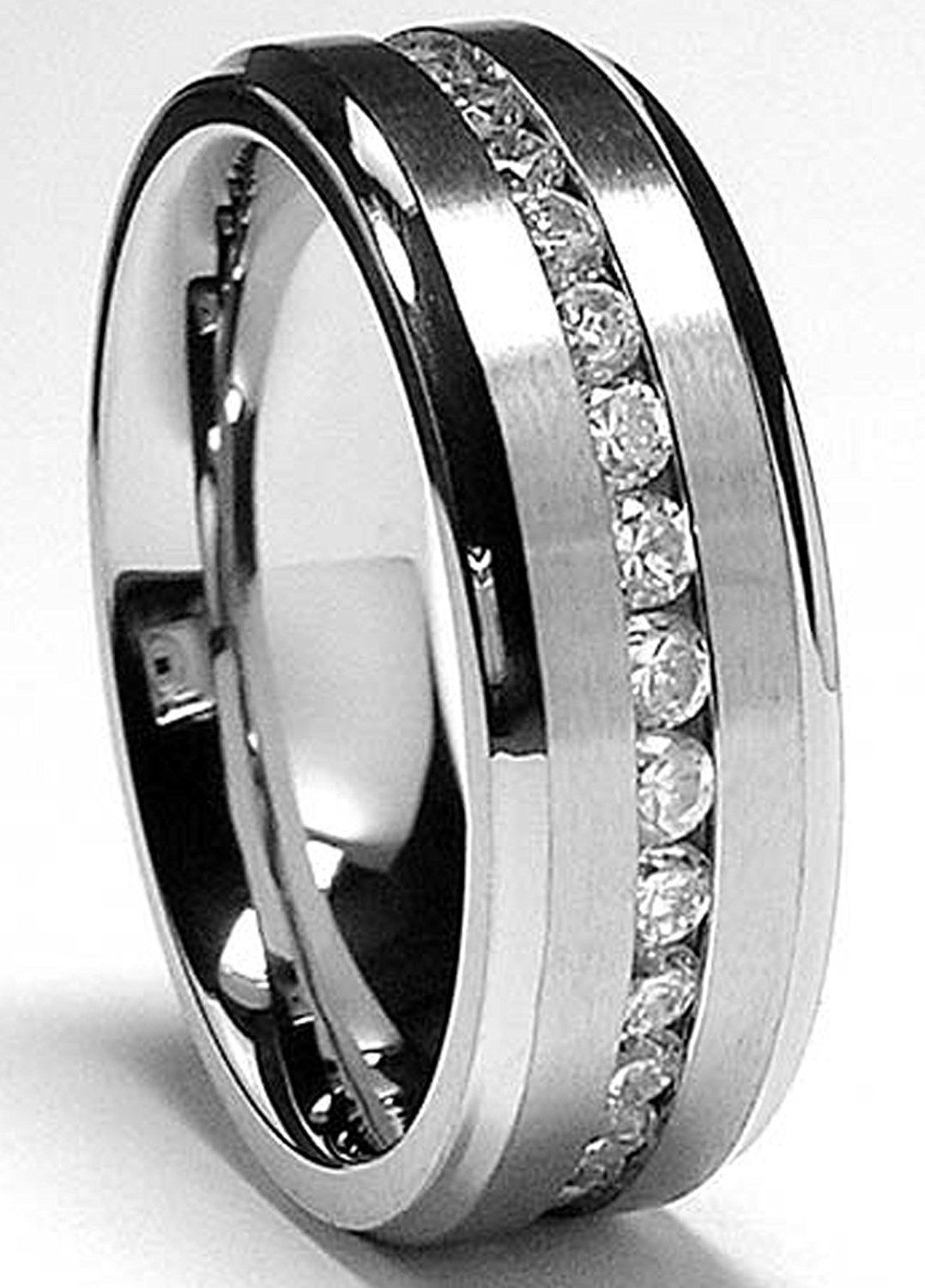 7MM Men's Eternity Titanium Ring Wedding Band with Cubic