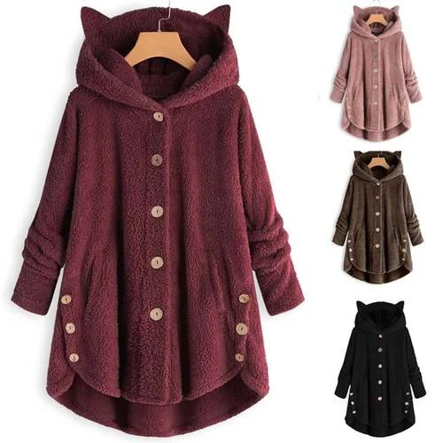 Button Fuzzy Fleece Coat for Women Warm Winter Faux Fur Hooded Cat Ear Pocket Sweatshirt Pullover