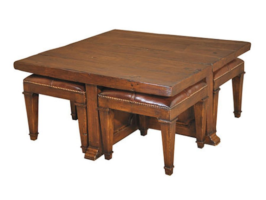 Square Coffee Table With Stools Underneath Coffee Table And