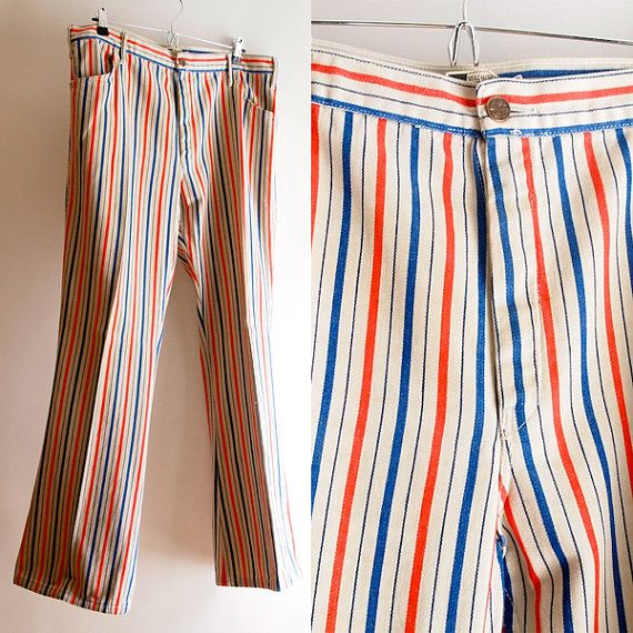 1970 S Striped Red White And Blue Trousers A Cue Design Etsy Blue Trousers Striped Trousers