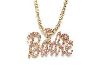 "Nicki Minaj Barbie Necklace Large Gold with Pink eshop. $16.99. PENDANT SIZE: 3.25"" x 2"". LENGTH : 18"" + 3"" extention,. NICKI MINAJ BARBIE NECKLACE. !!! PLEASE & PLEASE CHECK SIZE !!!"