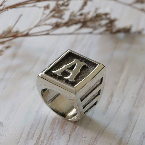 81cdbe8e8a550 A alphabet ring for men made of sterling silver 925 Biker style ...