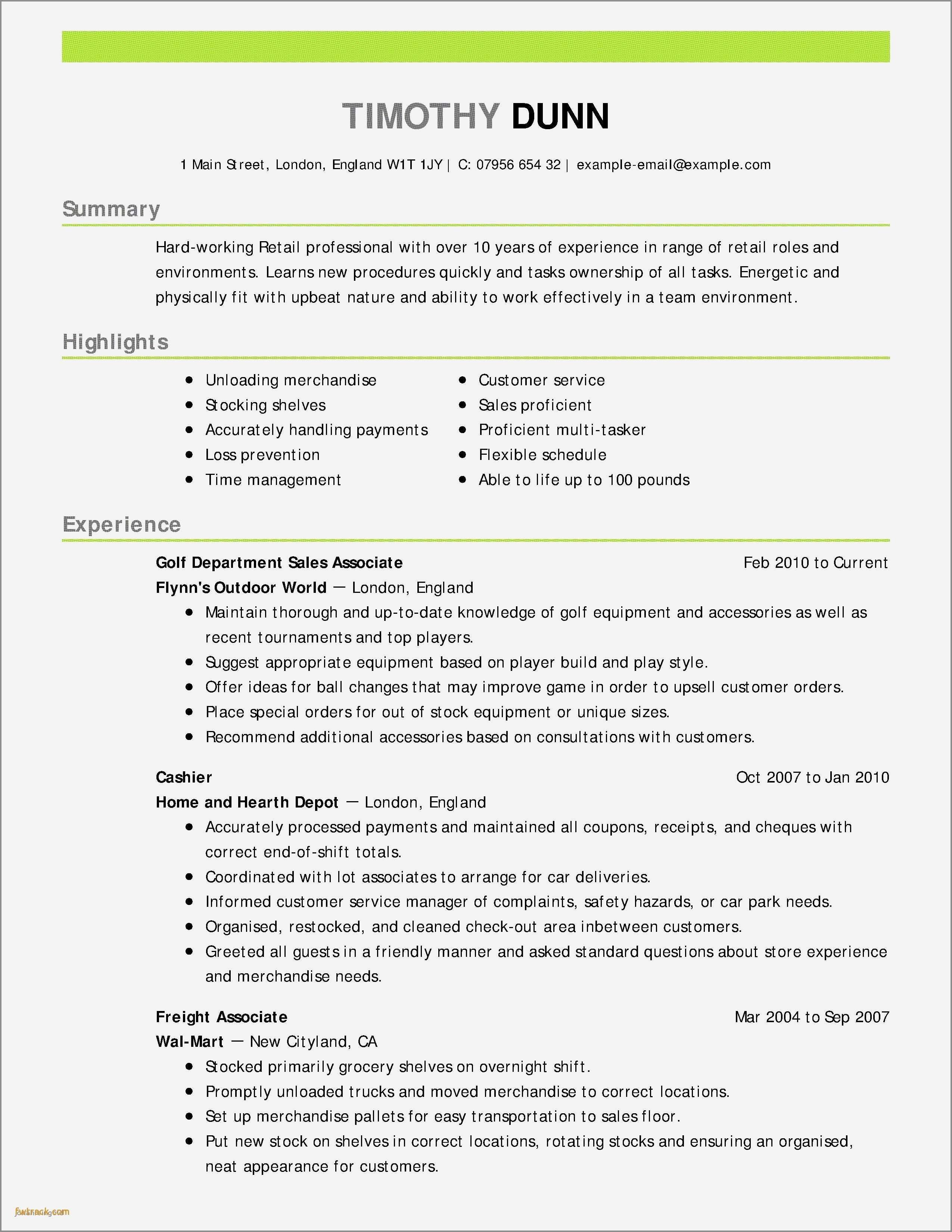 Retail Sales associate Resume Sample Beautiful Resume