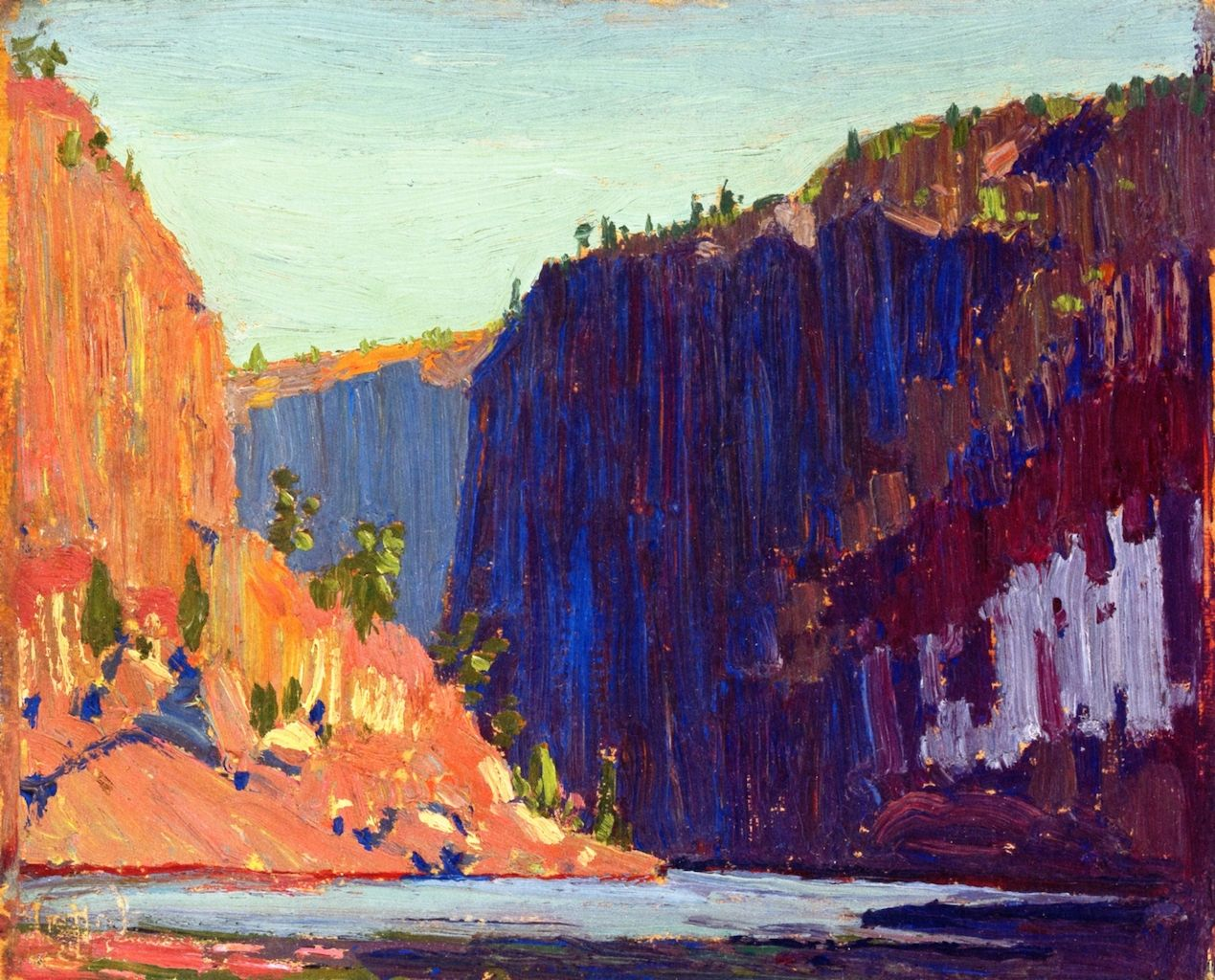 """dappledwithshadow: """" Petawawa Gorges Tom Thomson 1916 McMichael Canadian Art Collection (Canada) Painting - oil on…"""