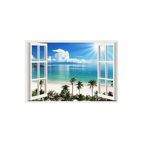 3d Window New Tropical Beach Wall Mural Decals Room Decor Stickers