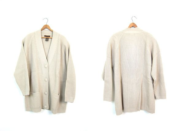 Vertical Rib Cardigan 90s Button Up Rib Sweater Oversized Beige ...