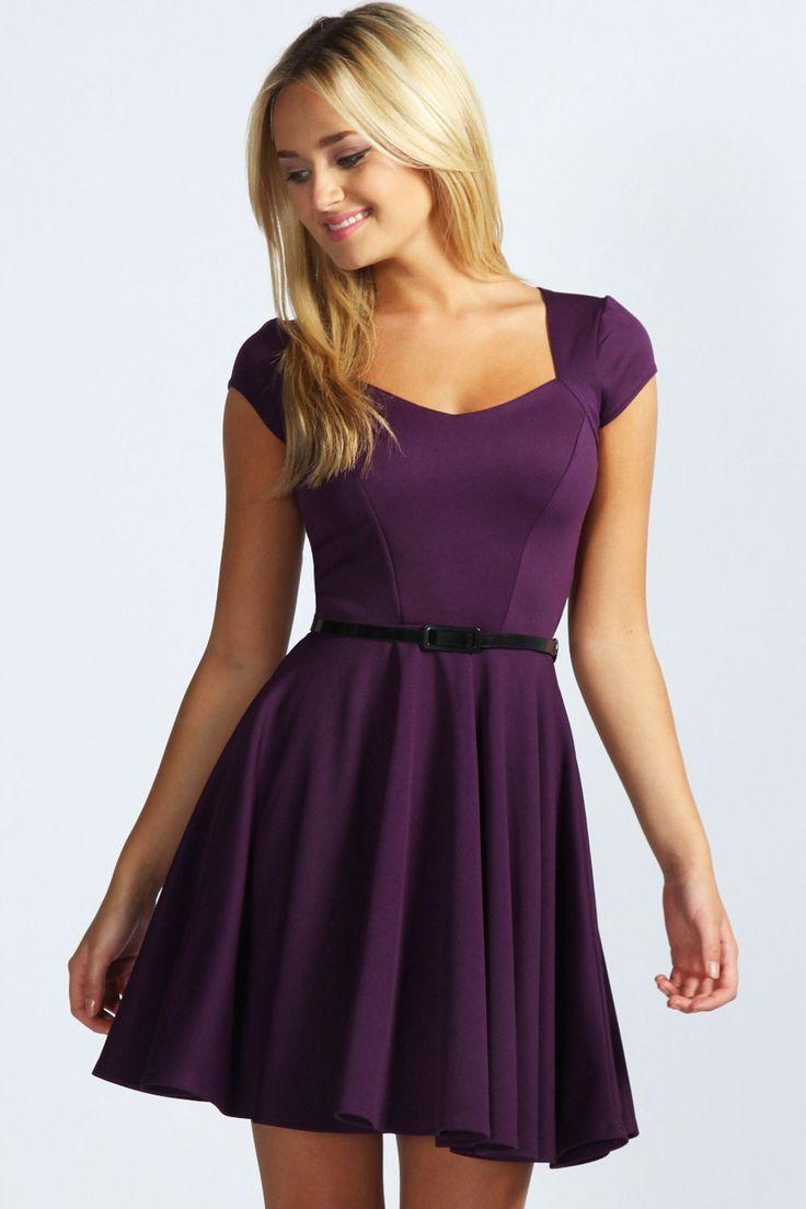 Lara Sweetheart Neck Skater Dress at boohoo.com | Stuff to Buy ...